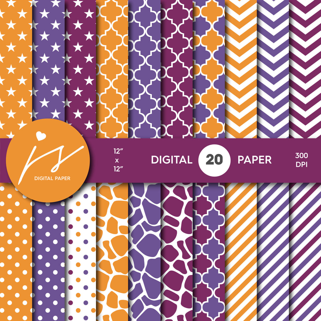 Purple and Orange Digital paper bundle pack with polka dots, stripes, chevron, safari, cow and stars pattern, BU-57