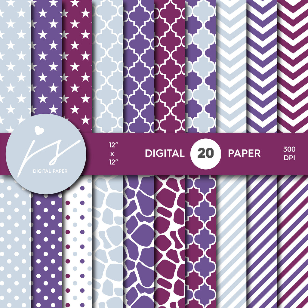 Light and Dark purple Digital paper bundle pack with polka dots, stripes, chevron, safari, cow and stars pattern, BU-59