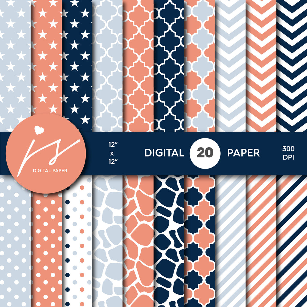 Coral and Navy Blue Digital paper bundle pack with polka dots, stripes, chevron, safari, cow and stars pattern, BU-61
