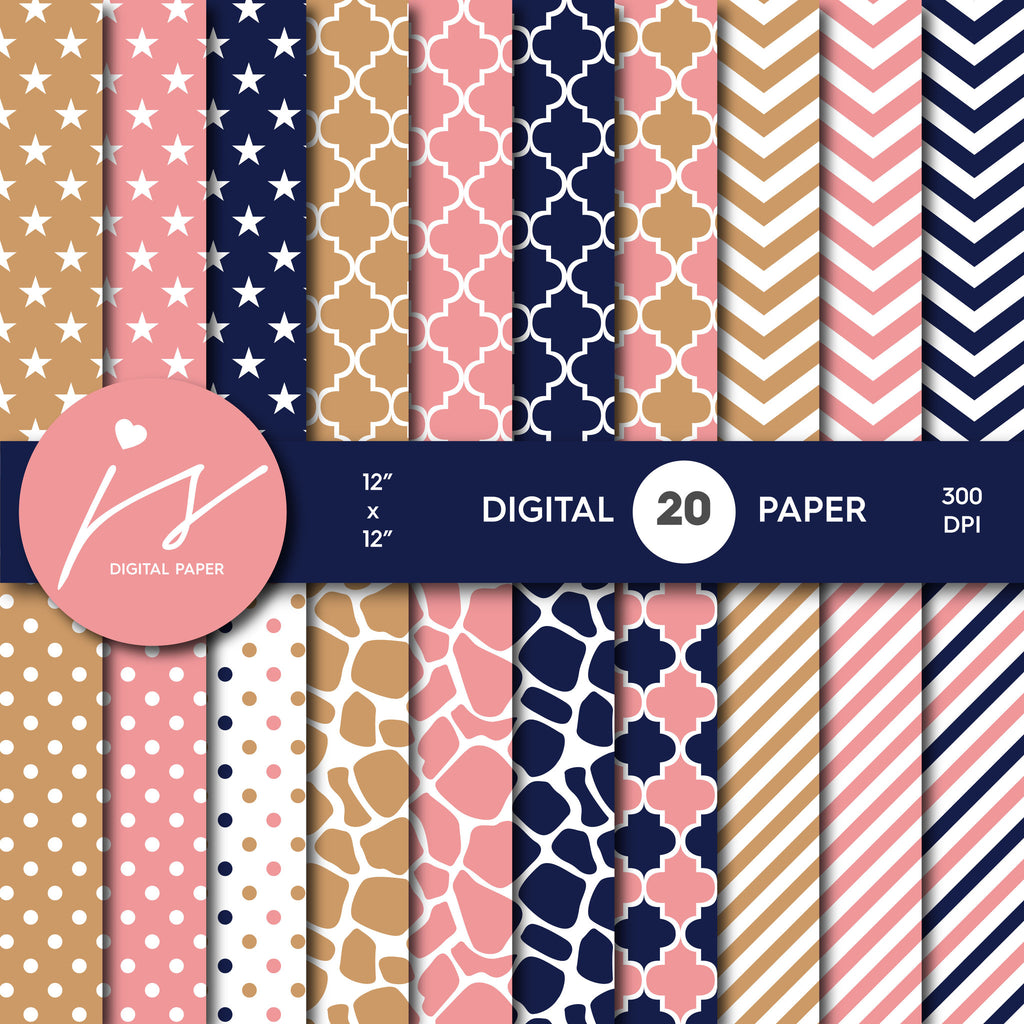 Brown Pink and Navy Blue Digital paper bundle pack with polka dots, stripes, chevron, safari, cow and stars pattern, BU-65