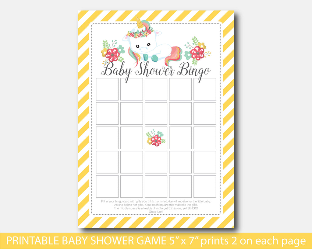 Blank printable unicorn bingo baby shower game, BU2-02