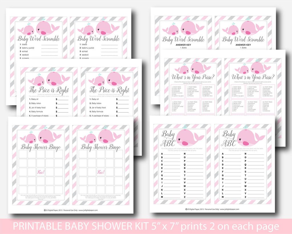 ... Whale Baby Shower Games, Nautical Baby Shower Games, Girl Baby Shower  Nautical Theme,