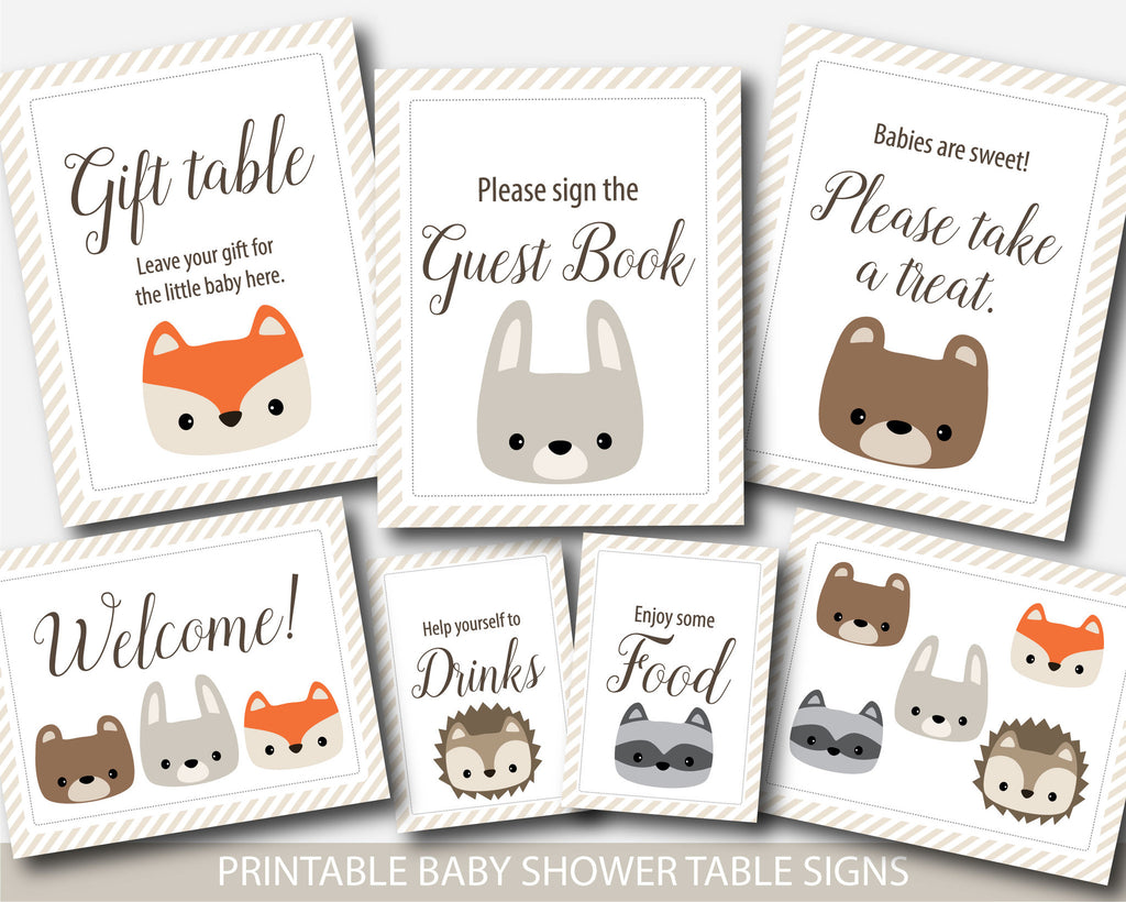 Woodland Baby Shower Table Signs, Woodland Baby Shower Decorations, Woodland  Animals Baby Shower Table