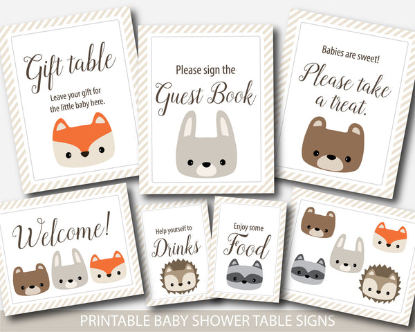Woodland baby shower table signs, Woodland baby shower decorations, Woodland animals baby shower table signs, Woodland decor and party signs, BW1-02