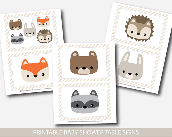 Woodland baby shower table signs, Woodland baby shower decorations, Forest animals baby shower table signs, Woodland decor and party signs, BW1-02