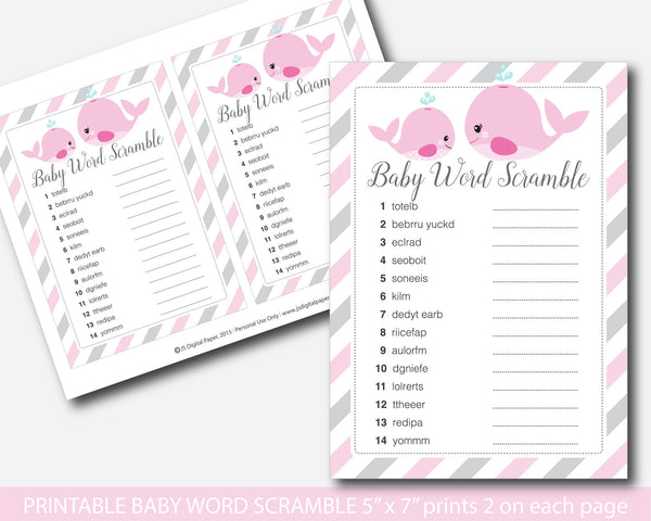 Whale baby shower word game, Nautical baby shower word scramble game, Whale baby shower, Pink nautical whale baby shower game pack, BW1-03