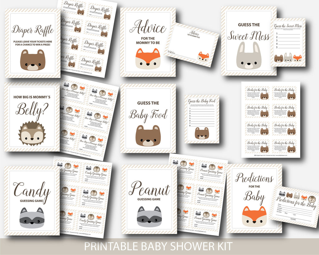 Woodland animal baby shower games, Woodland diaper raffle, Woodland books for the baby, Woodland predictions for baby, Woodland guessing game, BW1-03