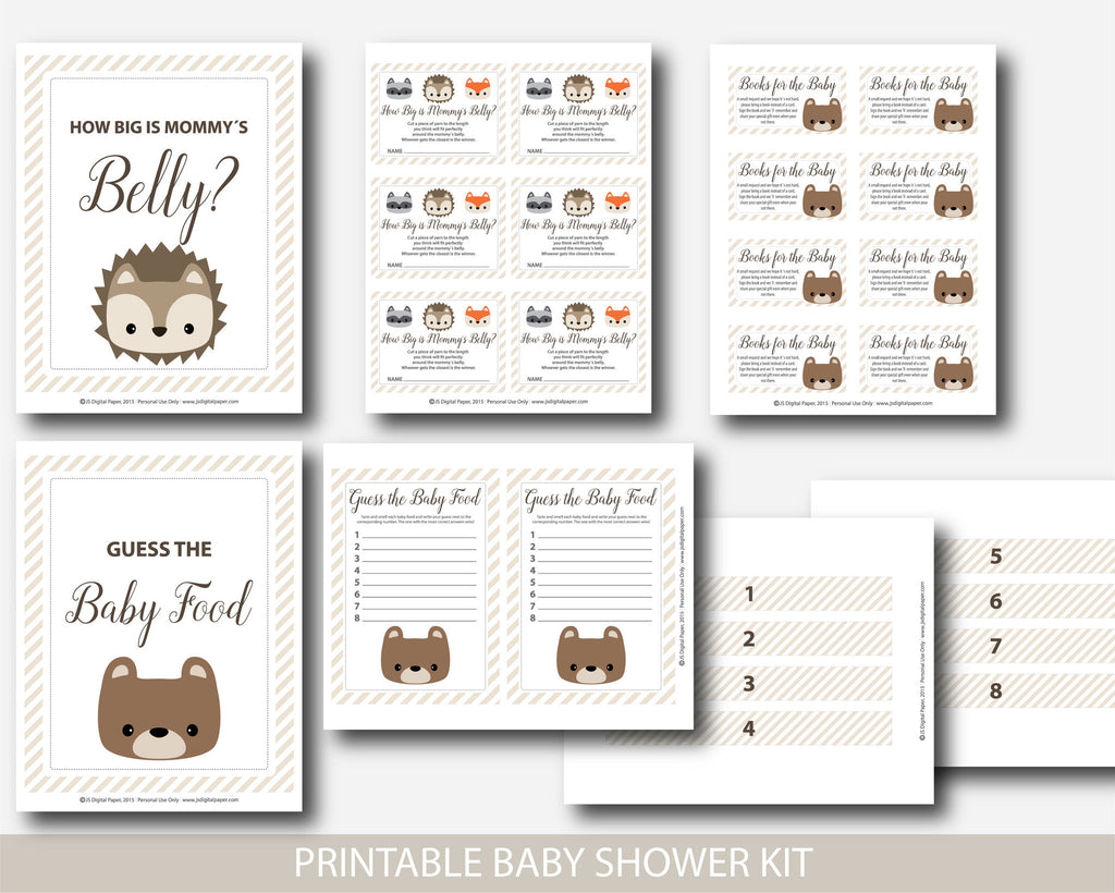 ... Woodland Animal Baby Shower Games, Woodland Diaper Raffle, Woodland  Books For The Baby, ...