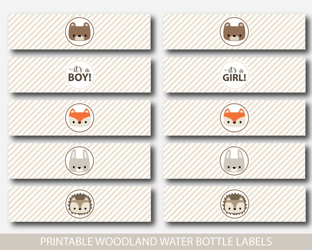 Woodland water bottle labels, Woodland baby shower water bottle labels, Woodland drink labels, Woodland animal labels, BW1-04