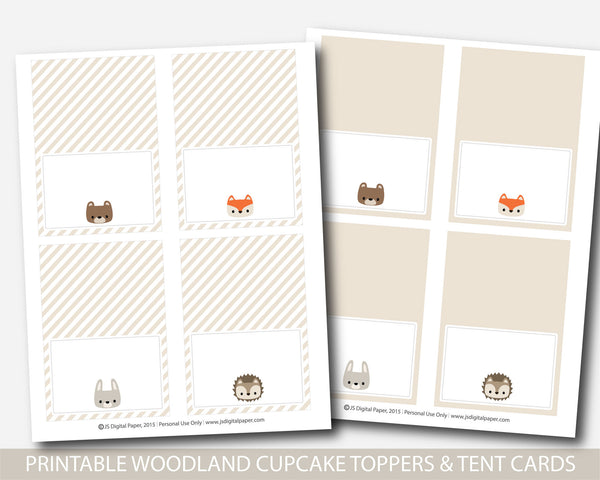 Woodland cupcake toppers and woodland tent cards, Woodland favors, Woodland buffet cards, Woodland theme party, Forest shower favors, BW1-05