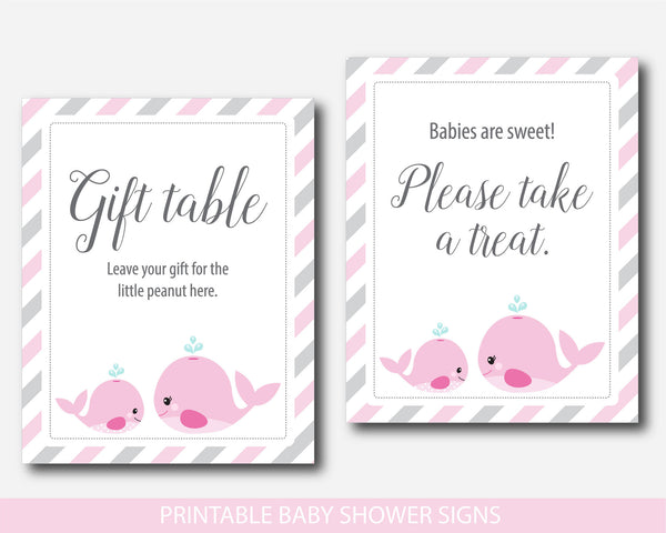 Nautical whale baby shower table signs, Nautical table signs, Whale table signs, Nautical themed baby shower, BW1-07