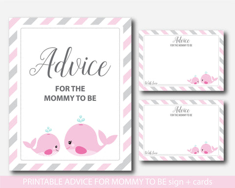 Nautical advice for mommy to be cards with sign, Nautical baby shower advice for the new mom to be, Well wishes for mom, Baby advice game, BW1-09