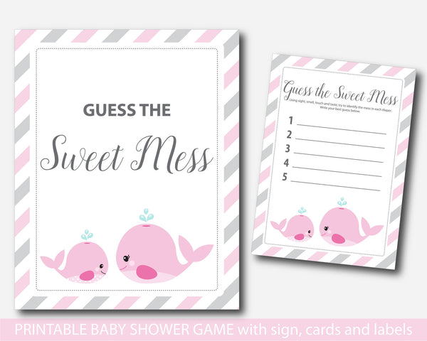 Nautical guess the sweet mess, Nautical dirty diapers baby shower game, Whale baby shower dirty diaper game, Diaper game card & sign, BW1-12