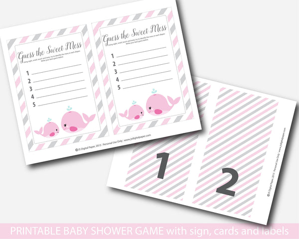 Nautical baby shower guess the sweet mess game, Nautical dirty diapers baby shower game, BW1-12