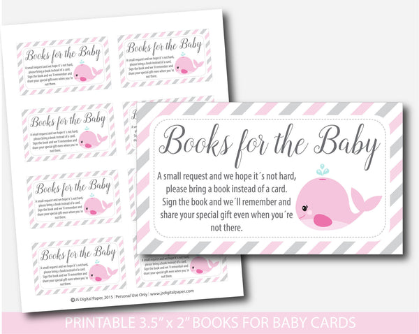 Nautical Bring a book instead of a card inserts, Whale baby shower books for the baby cards, Nautical book request, Baby shower inserts, BW1-14