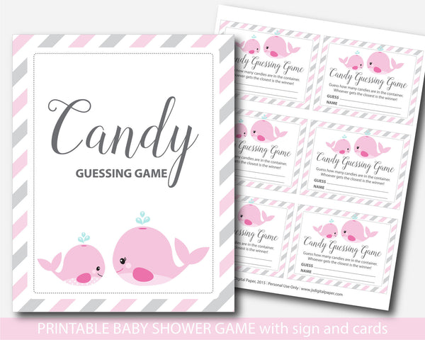 Nautical candy guessing game, Peanut M&Ms guessing game, Whale candy guessing game, Jelly bean game, Whale baby shower, BW1-16