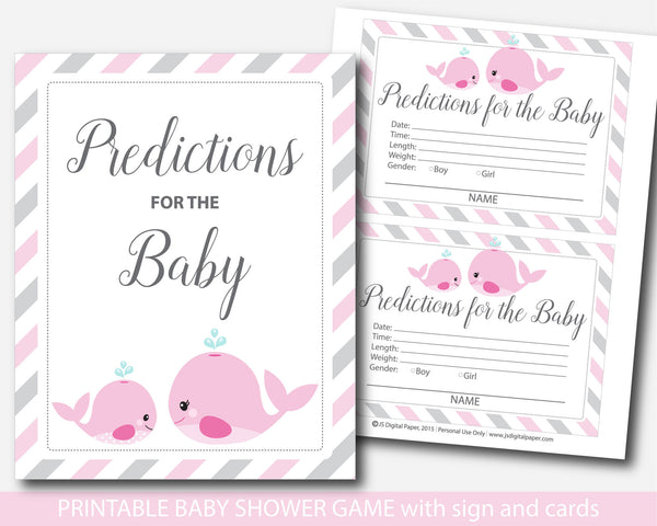 Nautical baby predictions, Whale predictions for the baby with cards and sign, Nautical prediction cards, Whale baby shower prediction baby cards, BW1-17