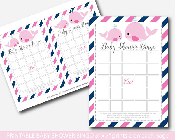 Whale baby shower bingo game, Nautical baby shower bingo game, Whale baby shower, Pink nautical baby shower game package, BW2-02