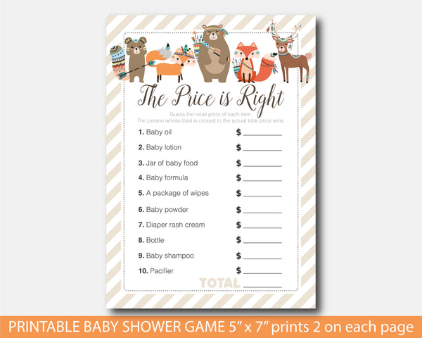 Tribal the price is right baby shower game, Woodland aztec baby shower the price is right game, BW2-05