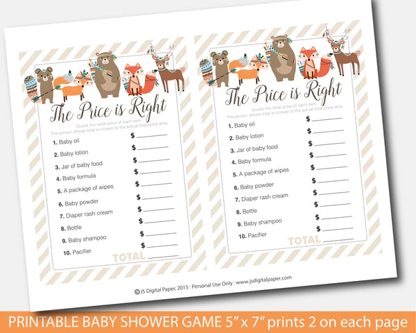 Tribal the price is right baby shower game, Woodland aztec baby shower the price is right game, Forest animals baby game, Instant download, BW2-05