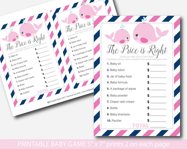 Nautical the price is right game, Whale baby shower games, Nautical baby shower the price is right, Nautical baby price game, Whale theme, BW2-05