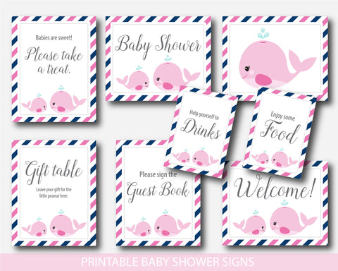 Nautical table signs, Whale baby shower table signs, Whale table signs, Nautical baby shower signs, Welcome baby shower, Nautical decor, BW2-07