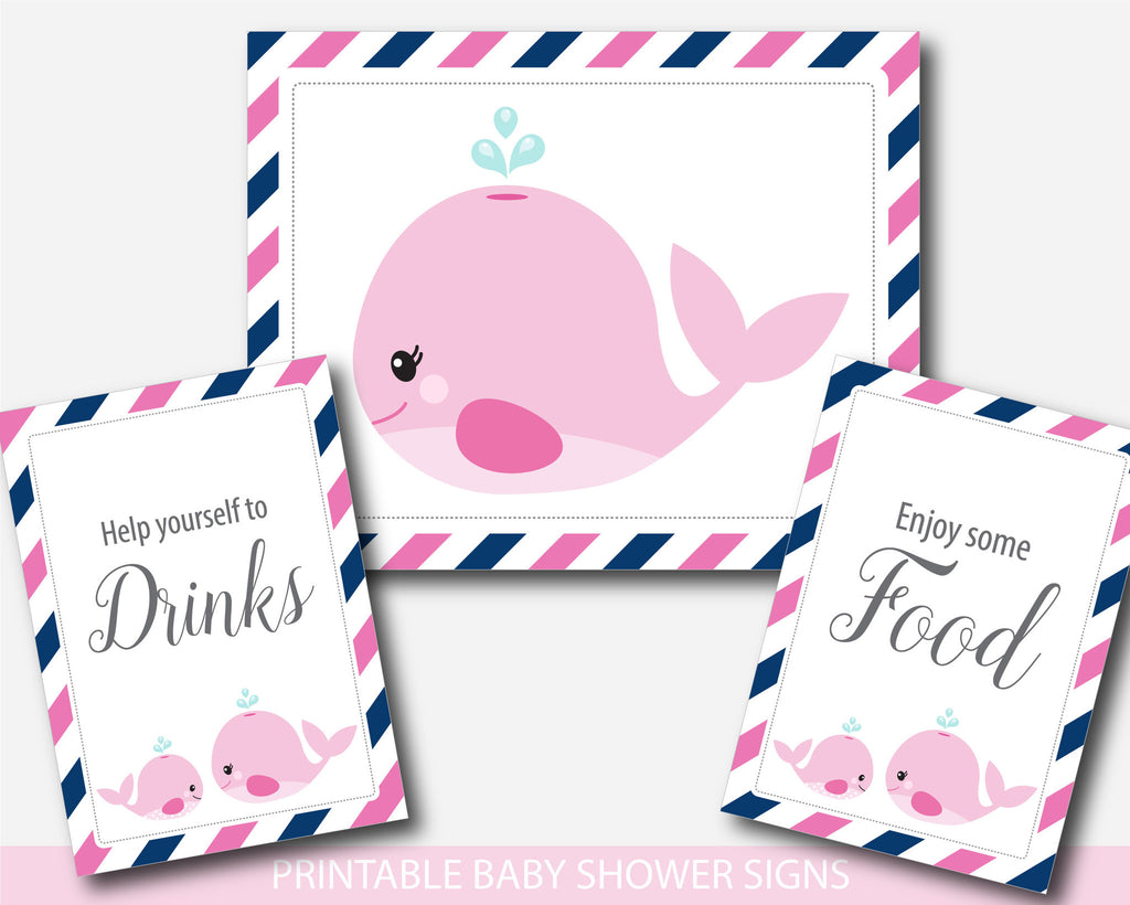 Baby shower whale themed table signs, Whale baby shower table signs ...
