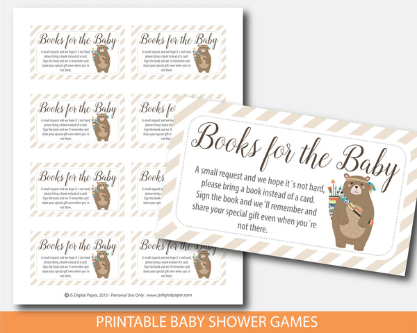Tribal bring a book instead of a card insert, Cub baby shower books for the baby cards, Woodland aztec book request, BW2-09A
