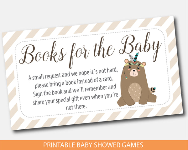 Cub baby shower books for the baby cards, Tribal bring a book instead of a card insert, Woodland aztec book request, BW2-09B