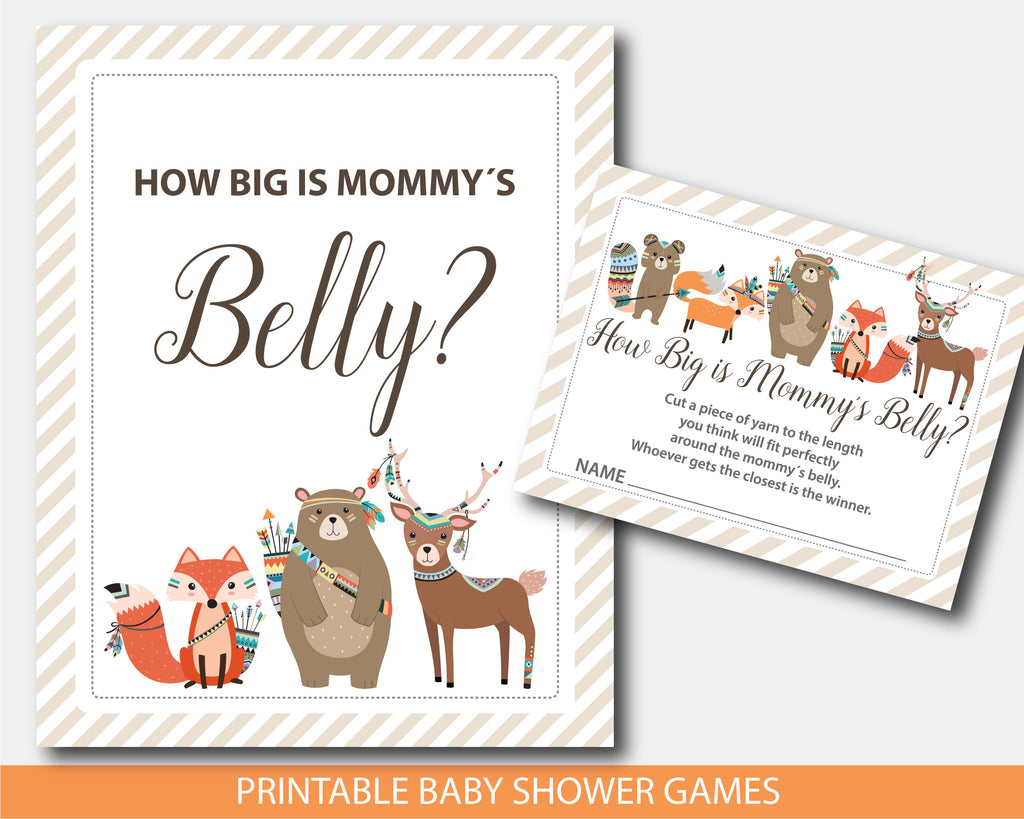 Tribal baby shower belly game, Tribal how big is mommy´s belly game, Tribal belly guessing game, BW2-12