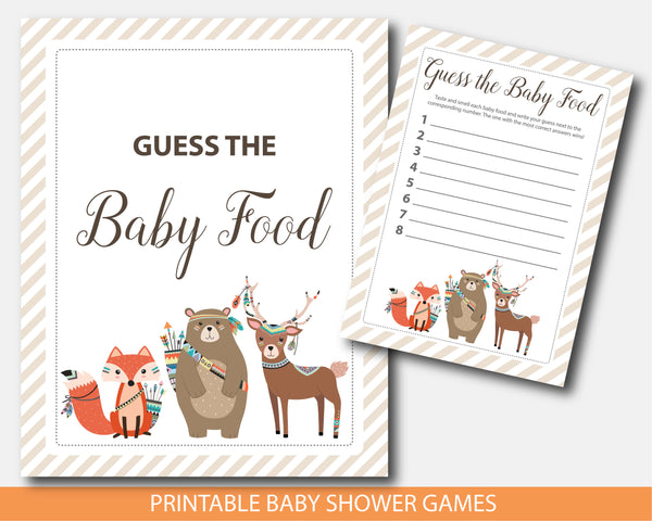 Tribal guess the baby food baby shower game, Tribal baby shower food game, Woodland aztec food guessing game, BW2-13