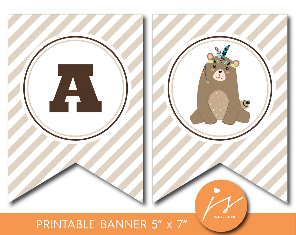 Tribal woodland baby shower and birthday bunting banner, Tribal theme party, BW2-19
