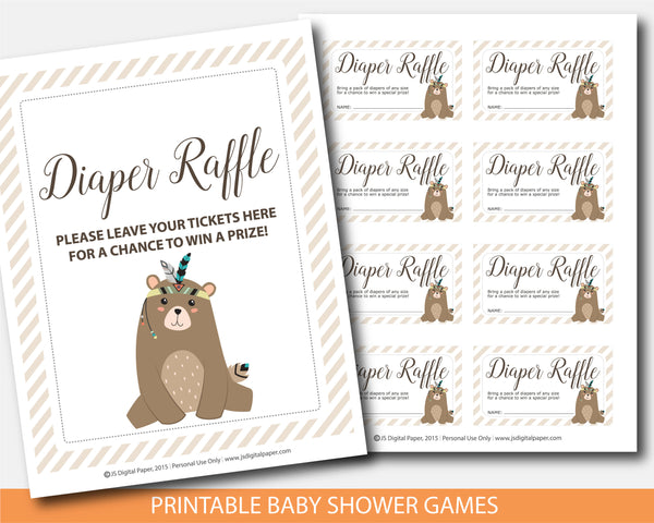 Woodland cub raffle cards and sign, Tribal diaper raffle baby shower inserts, BW3-08