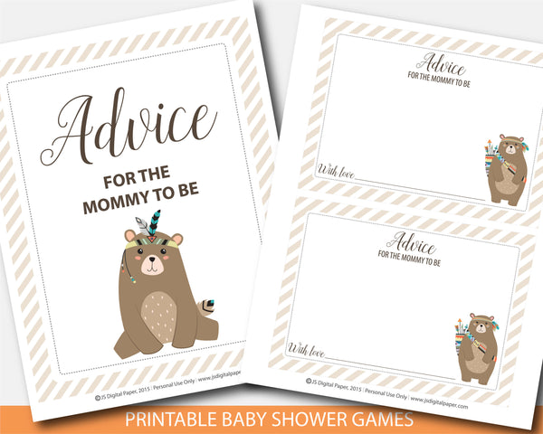 Woodland cub advice for the mommy to be card and sign, Tribal aztec advice for mom baby shower game, BW3-10
