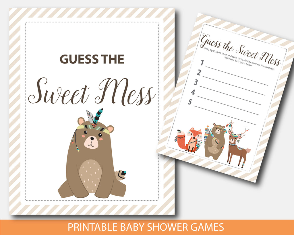 Tribal Cub Baby Shower Dirty Diapers Game Woodland Cub Guess The