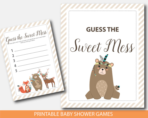 Tribal cub baby shower dirty diapers game, Woodland cub guess the sweet mess game, BW3-11