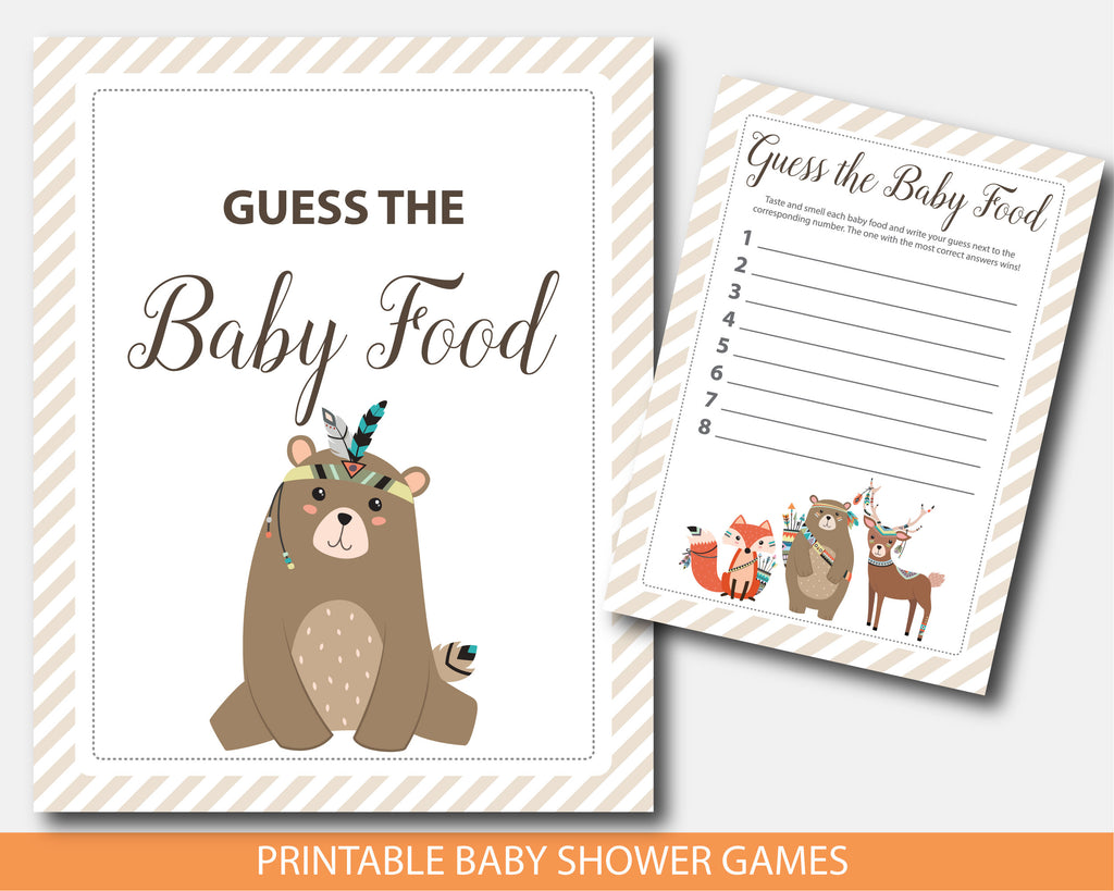 Tribal teddy bear guess the baby food baby shower game, BW3-13