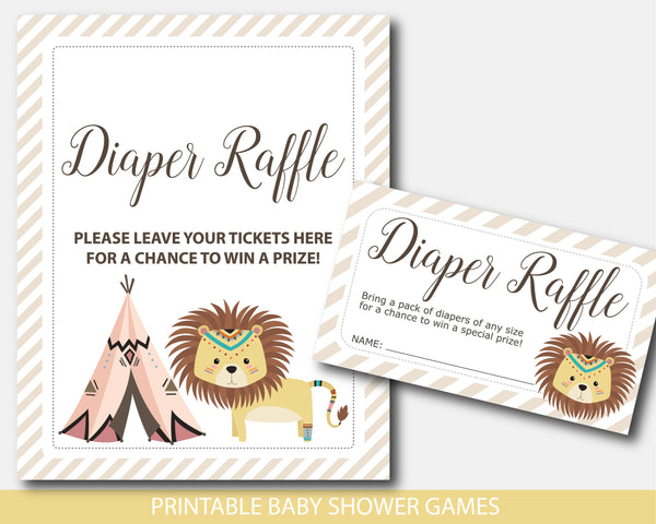 Tribal lion diaper raffle baby shower inserts, Teepee raffle cards and sign, Printable safari lion baby shower game, Tribal invitation inserts, BW4-08
