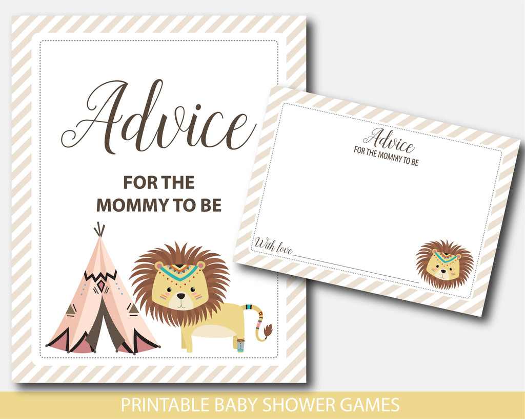 Tribal lion advice for the mommy to be card and sign, Lion and teepee advice for mom baby shower game, Safari lion shower games, Instant download, BW4-10