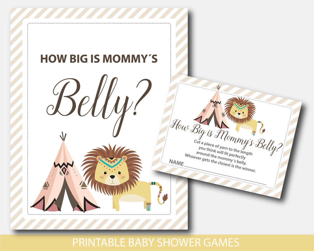 Tribal Lion Baby Shower Belly Game Lion And Teepee How Big Is Mommy