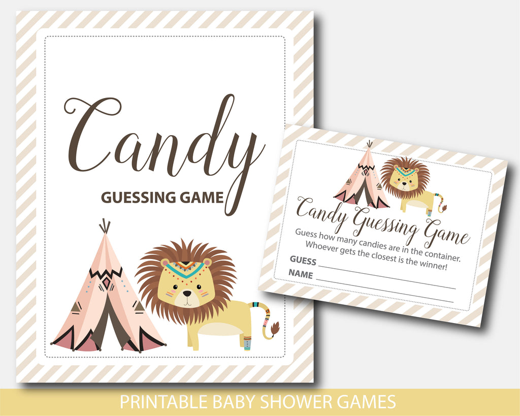 Tribal lion baby shower candy guessing game, Lion with teepee baby peanut guessing game, Safari lion candy game, Tribal game, BW4-16
