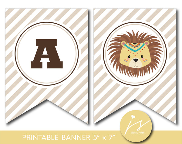 Tribal lion baby shower and birthday bunting banner, Lion banner for safari themed party, Printable tribal banner, BW4-19