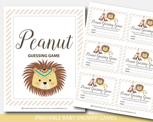 Tribal baby shower peanut guessing game, Safari lion baby shower candy guessing game, BW5-14