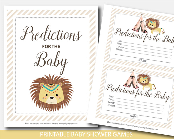 Safari lion predictions for the baby with cards and sign, Tribal lion baby shower predictions, BW5-15