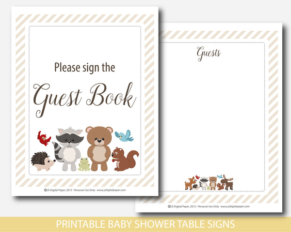 Baby shower table signs, Forest theme with cute bear, raccoon, moose, squirrel and deer, BW6-07
