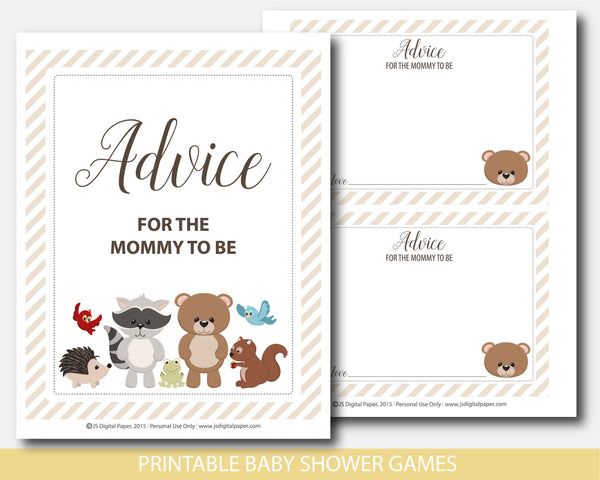 Advice for the mommy to be card and sign with cute bear, raccoon, moose, squirrel and deer, BW6-10