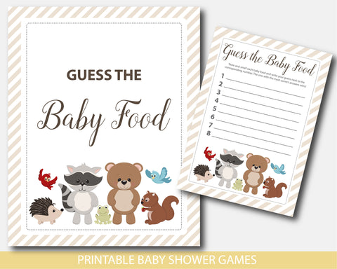 Baby shower food game with woodland forest animals, bear, raccoon, moose, squirrel and deer, BW6-13