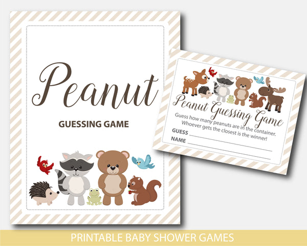 Baby shower peanut guessing game with cute bear, raccoon, moose, squirrel and deer, BW6-14