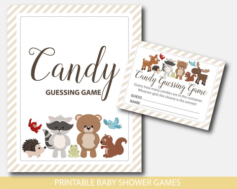 Baby shower candy guessing game with cute bear, raccoon, moose, squirrel and deer, BW6-16