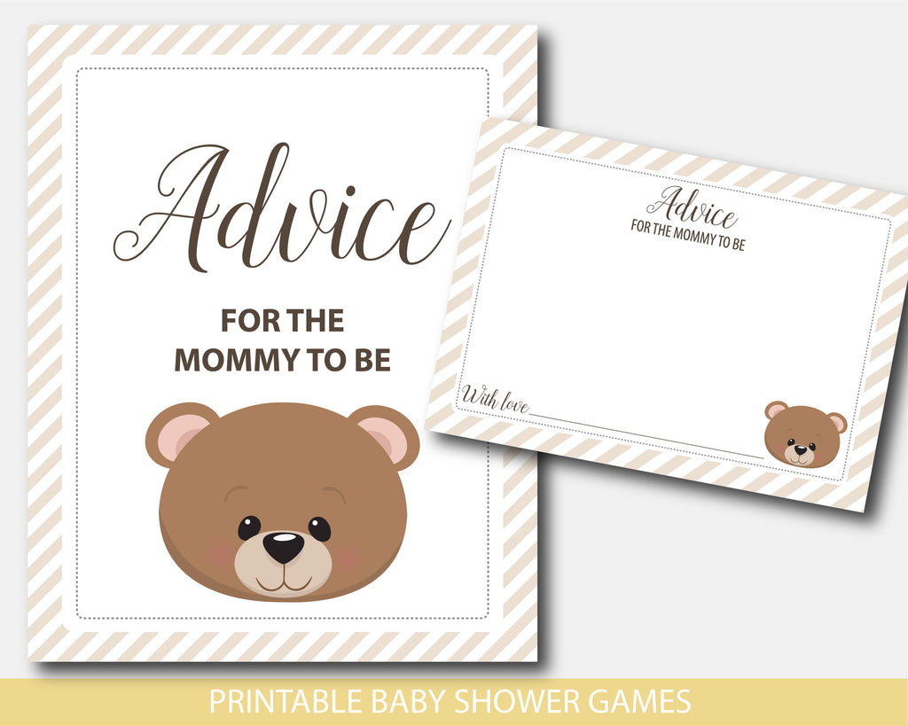 Advice for the mommy to be card and sign with teddy bear design, BW7-10